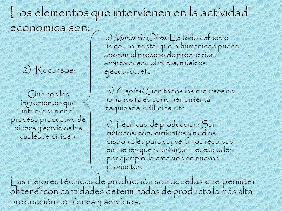 Los elementos que intervienen en la actividad economica son:
