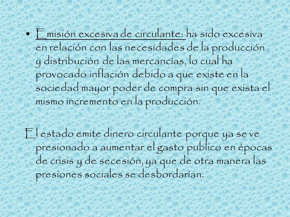 Emisión excesiva de circulante: ha sido excesiva en relación con las necesidades de la producción y distribución de las mercancías, lo cual ha provocado inflación debido a que existe en la sociedad mayor poder de compra sin que exista el mismo incremento en la producción.