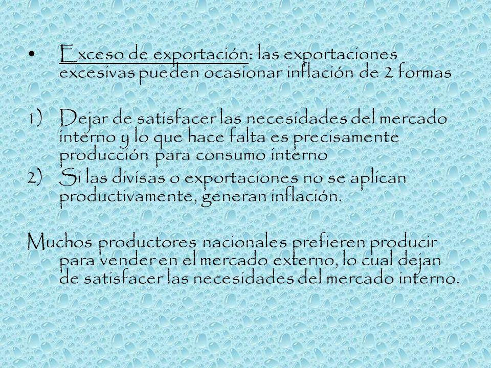 Exceso de exportación: las exportaciones excesivas pueden ocasionar inflación de 2 formas