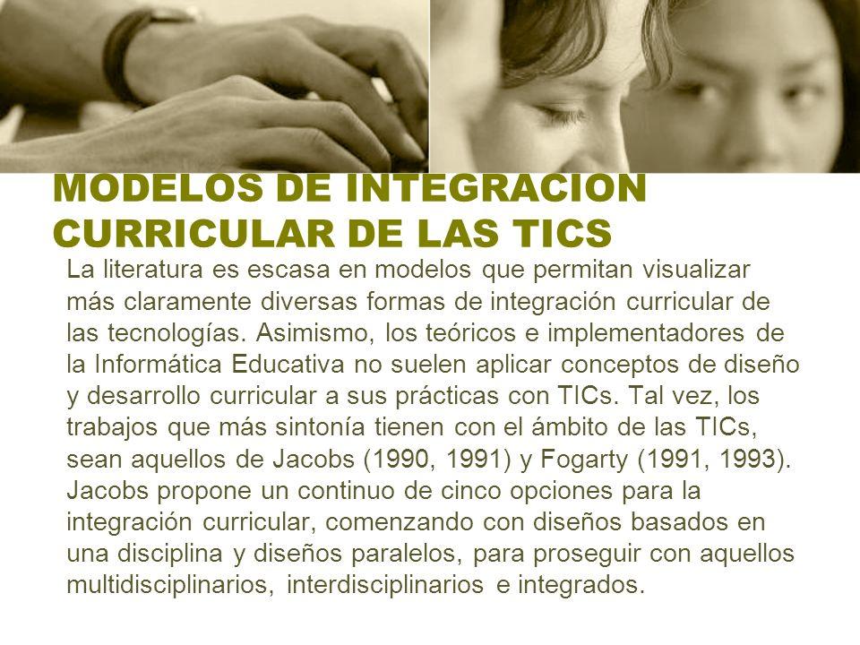 MODELOS DE INTEGRACION CURRICULAR DE LAS TICS