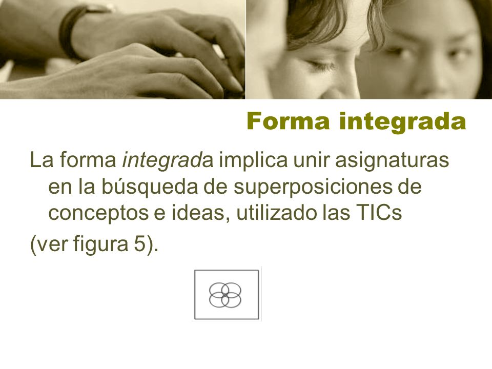 Forma integradaLa forma integrada implica unir asignaturas en la búsqueda de superposiciones de conceptos e ideas, utilizado las TICs.