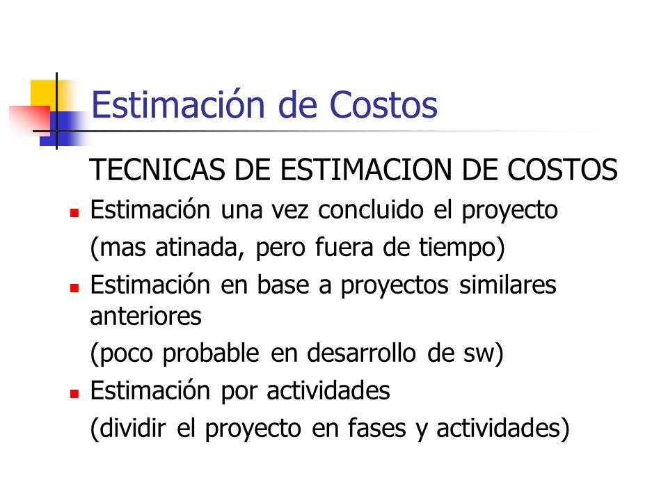 TECNICAS DE ESTIMACION DE COSTOS