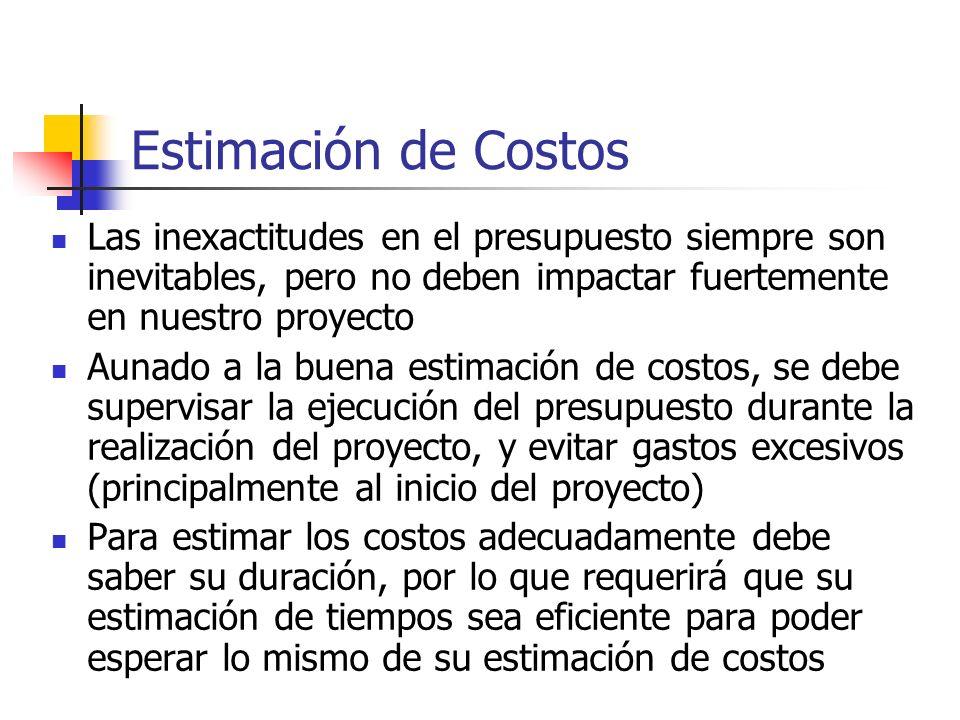 Estimación de Costos Las inexactitudes en el presupuesto siempre son inevitables, pero no deben impactar fuertemente en nuestro proyecto.