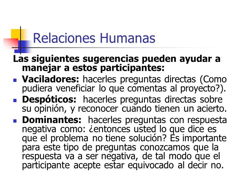 Relaciones Humanas Las siguientes sugerencias pueden ayudar a manejar a estos participantes: