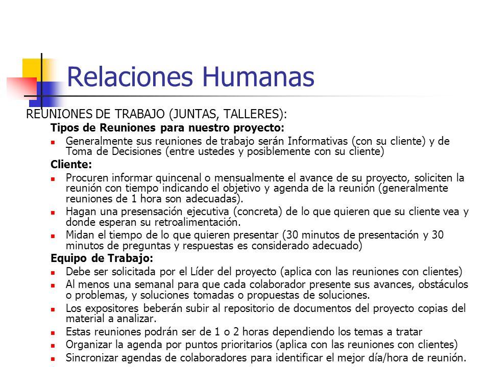 Relaciones Humanas REUNIONES DE TRABAJO (JUNTAS, TALLERES):
