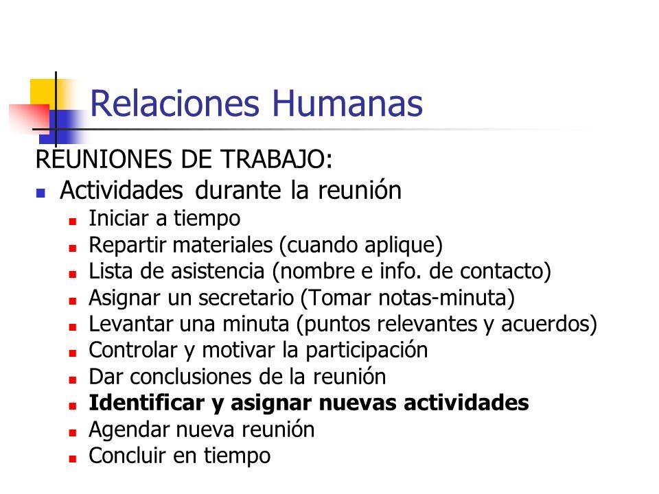 Relaciones Humanas REUNIONES DE TRABAJO: