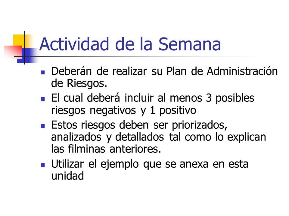 Actividad de la SemanaDeberán de realizar su Plan de Administración de Riesgos.