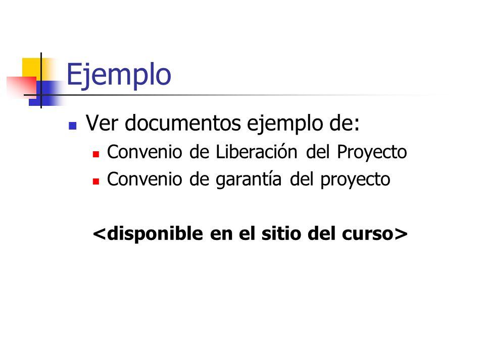 Ejemplo Ver documentos ejemplo de: Convenio de Liberación del Proyecto