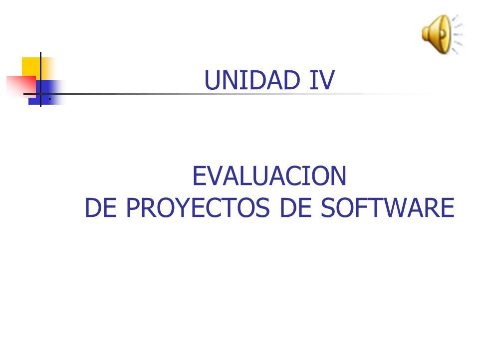 UNIDAD IV EVALUACION DE PROYECTOS DE SOFTWARE