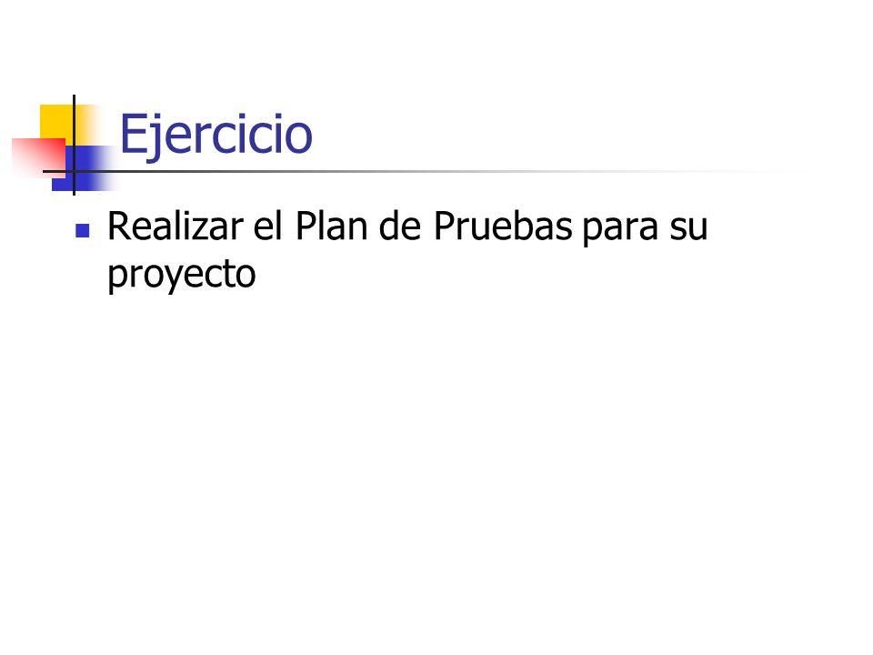 Ejercicio Realizar el Plan de Pruebas para su proyecto