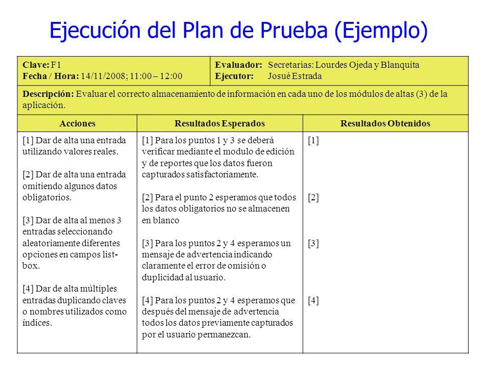 Ejecución del Plan de Prueba (Ejemplo)