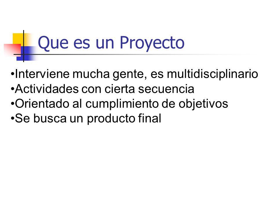 Que es un Proyecto Interviene mucha gente, es multidisciplinario