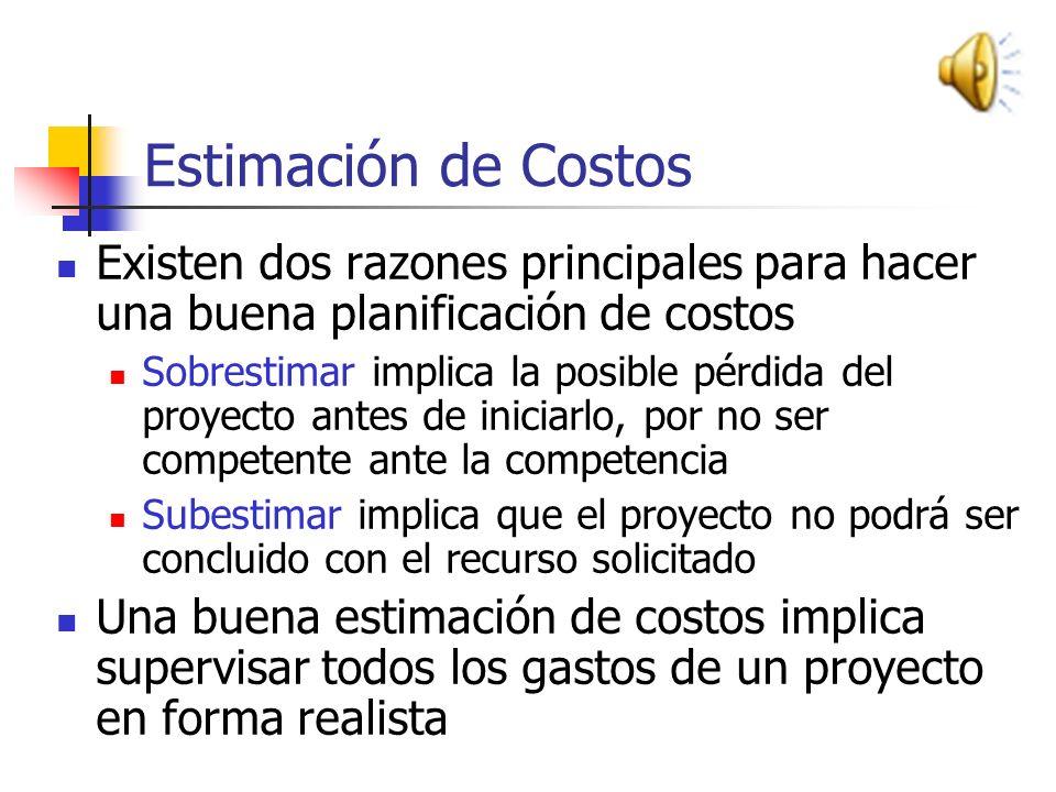 Estimación de Costos Existen dos razones principales para hacer una buena planificación de costos.