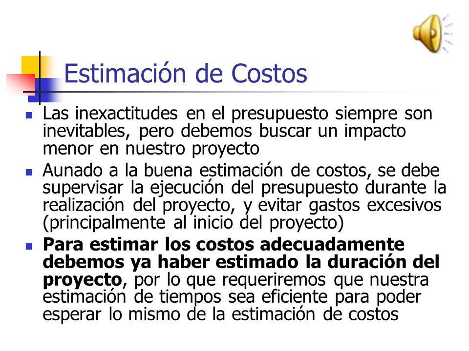 Estimación de Costos Las inexactitudes en el presupuesto siempre son inevitables, pero debemos buscar un impacto menor en nuestro proyecto.