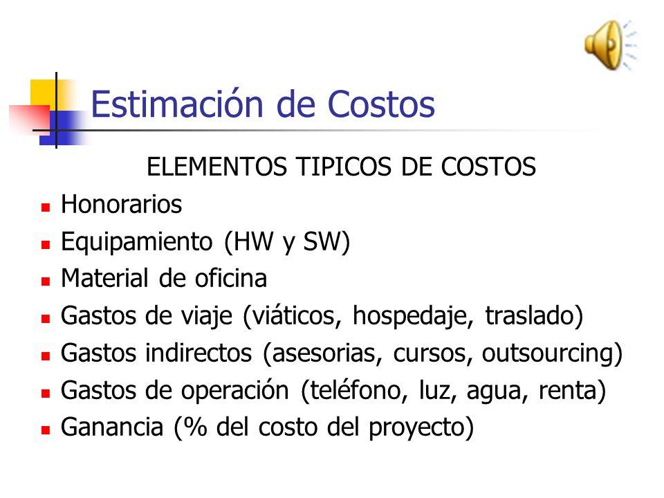 ELEMENTOS TIPICOS DE COSTOS