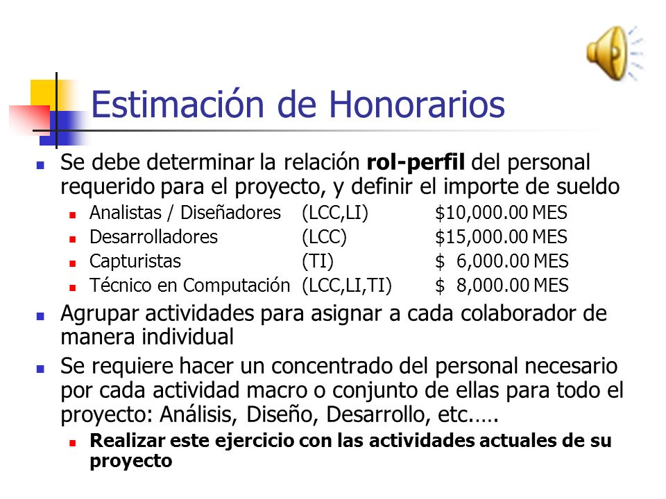 Estimación de Honorarios