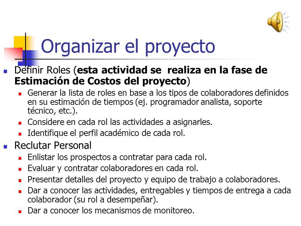 Organizar el proyecto Definir Roles (esta actividad se realiza en la fase de Estimación de Costos del proyecto)