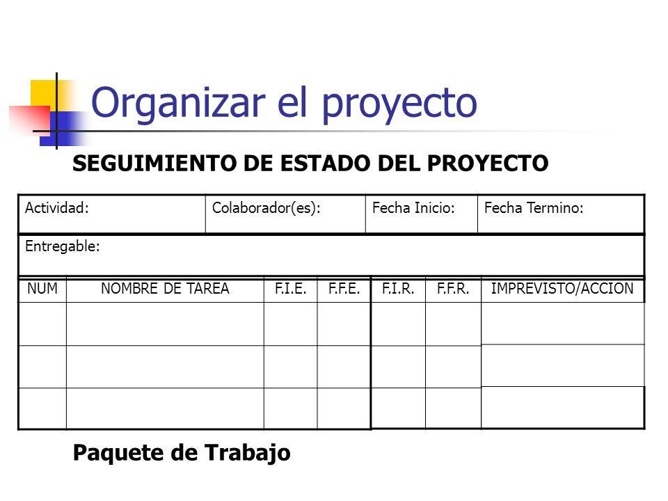 Organizar el proyecto SEGUIMIENTO DE ESTADO DEL PROYECTO