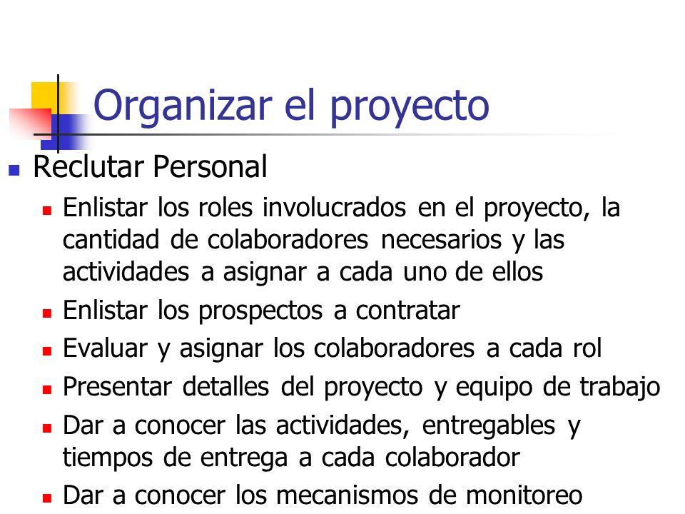 Organizar el proyecto Reclutar Personal