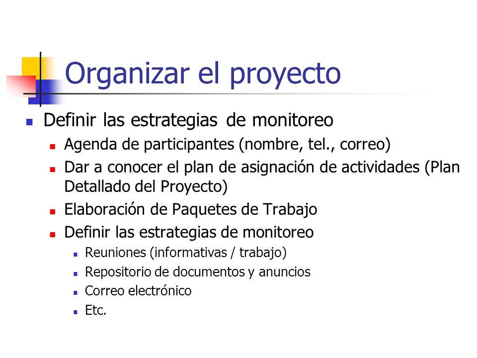 Organizar el proyecto Definir las estrategias de monitoreo