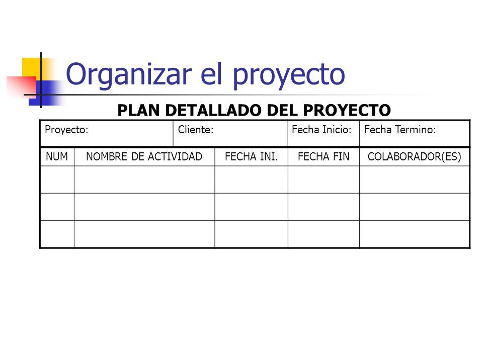 Organizar el proyecto PLAN DETALLADO DEL PROYECTO Proyecto: Cliente: