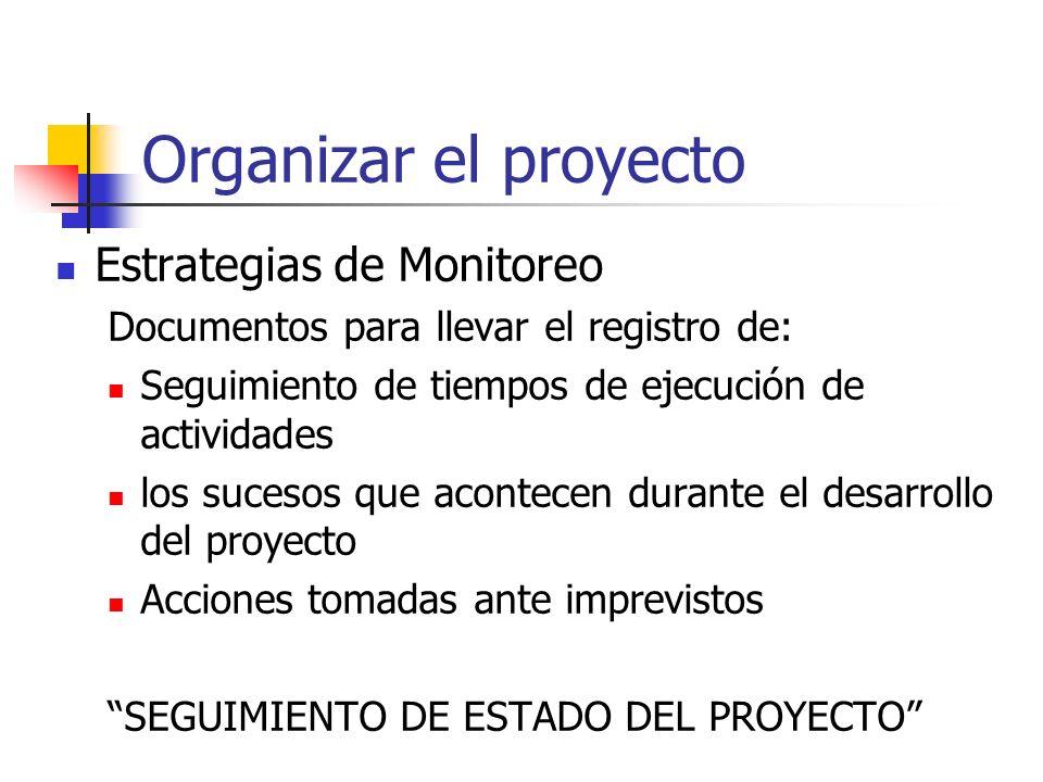 Organizar el proyecto Estrategias de Monitoreo