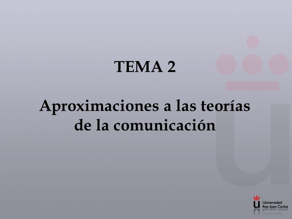 TEMA 2 Aproximaciones a las teorías de la comunicación
