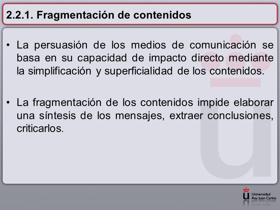 2.2.1. Fragmentación de contenidos