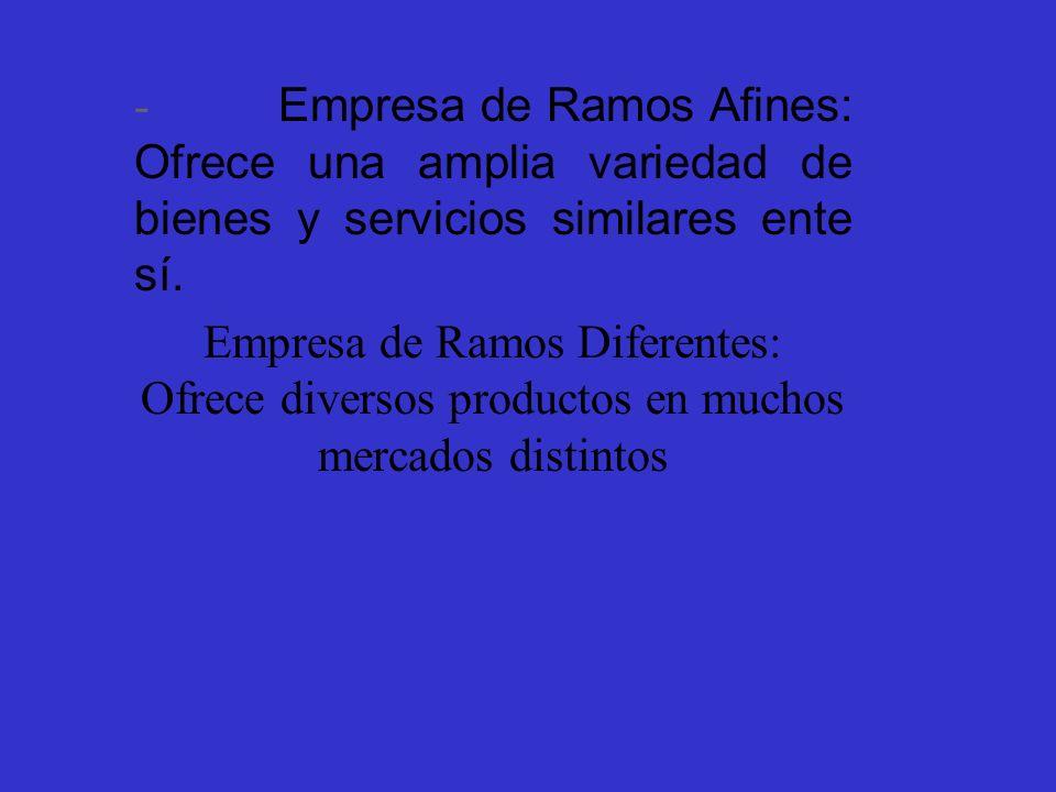 - Empresa de Ramos Afines: Ofrece una amplia variedad de bienes y servicios similares ente sí.