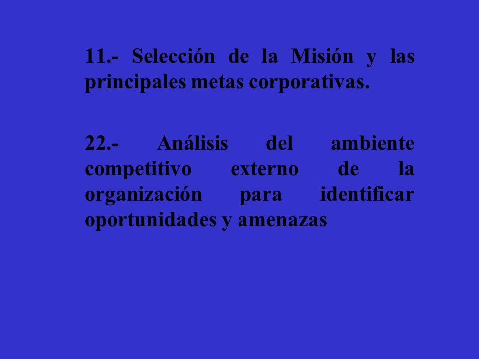11.- Selección de la Misión y las principales metas corporativas.