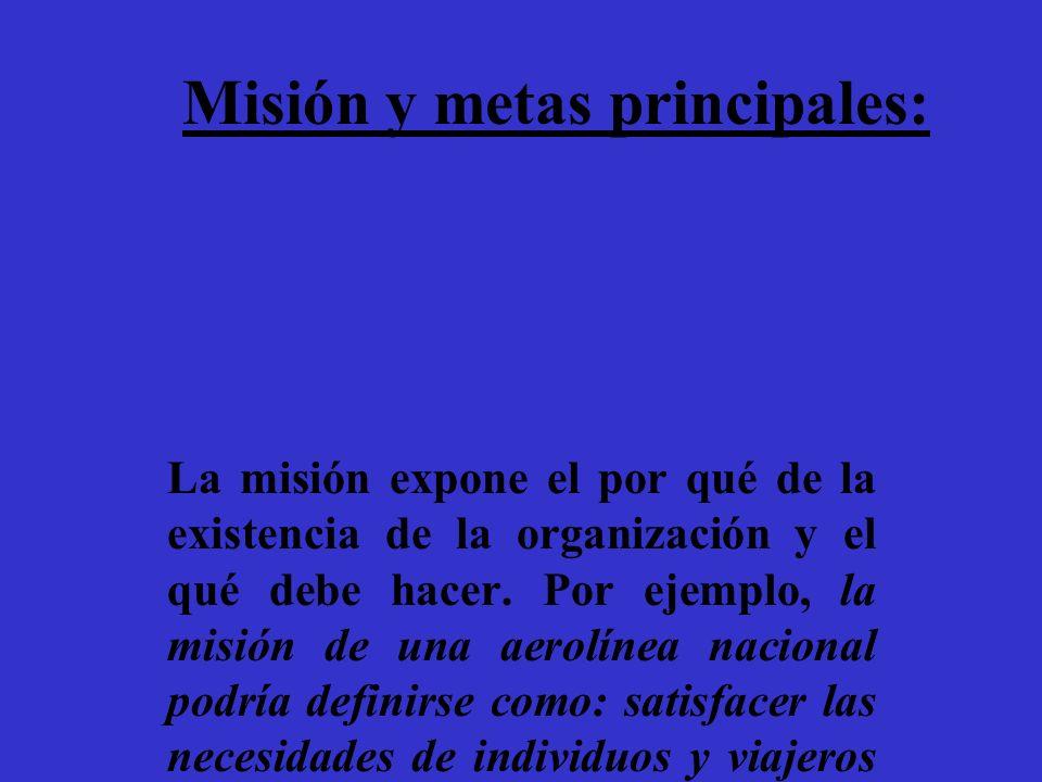 Misión y metas principales: