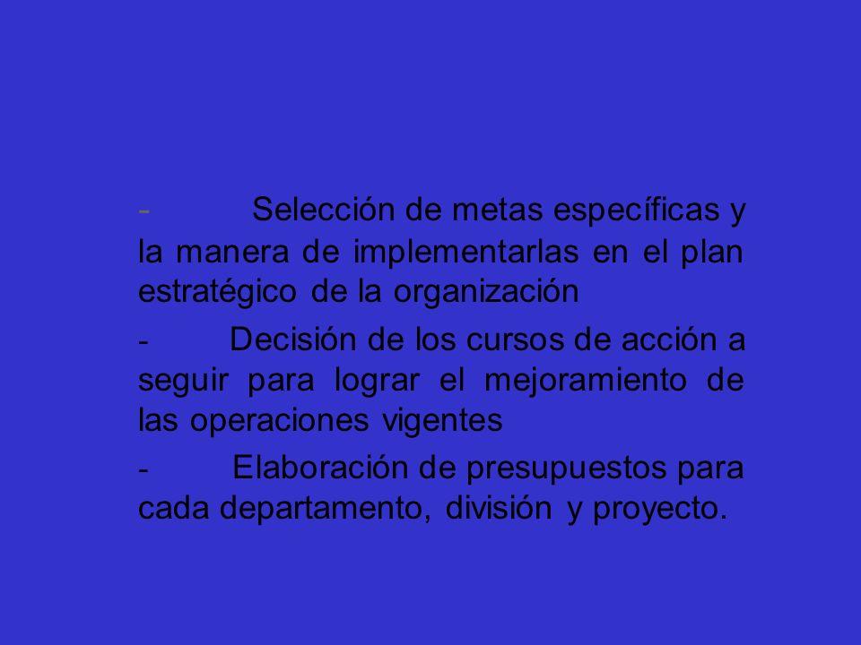 - Selección de metas específicas y la manera de implementarlas en el plan estratégico de la organización