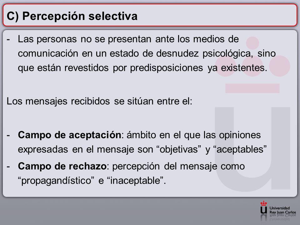 C) Percepción selectiva