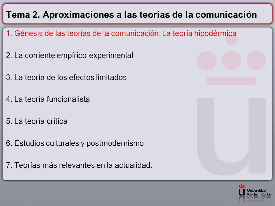 Tema 2. Aproximaciones a las teorías de la comunicación
