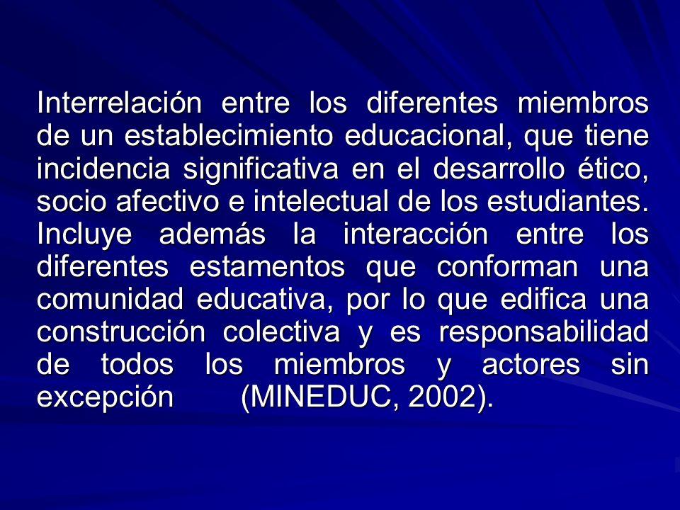 Interrelación entre los diferentes miembros de un establecimiento educacional, que tiene incidencia significativa en el desarrollo ético, socio afectivo e intelectual de los estudiantes.
