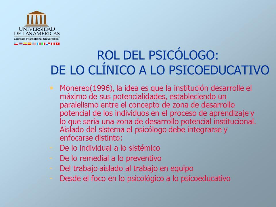 ROL DEL PSICÓLOGO: DE LO CLÍNICO A LO PSICOEDUCATIVO