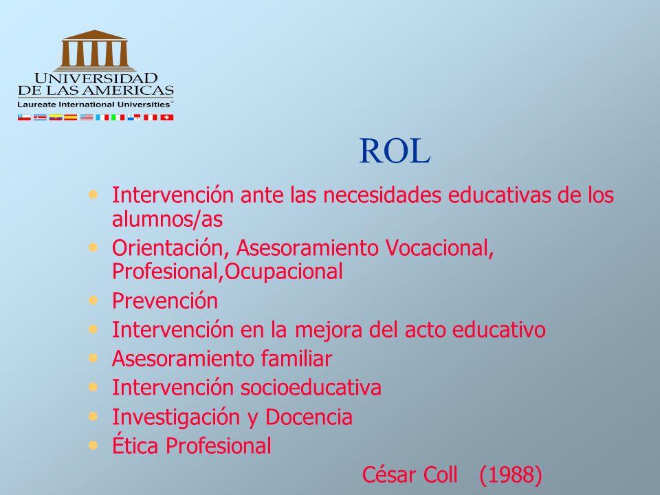 ROL Intervención ante las necesidades educativas de los alumnos/as