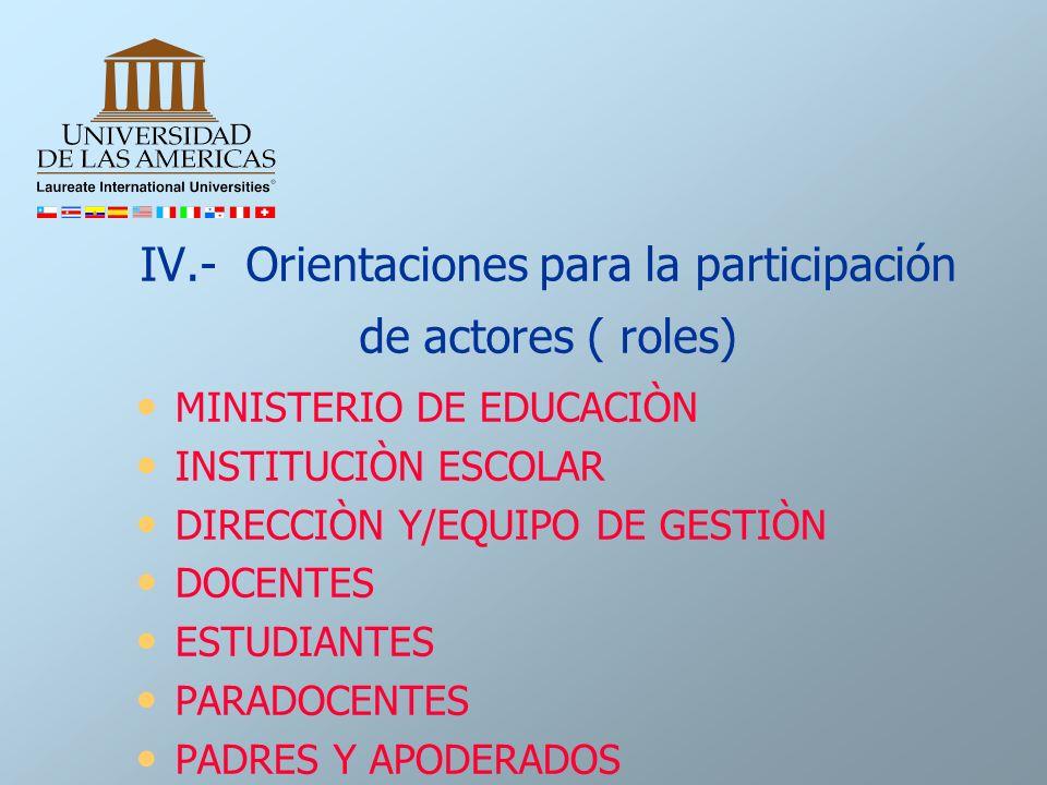 IV.- Orientaciones para la participación de actores ( roles)