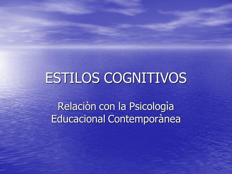 Relaciòn con la Psicologìa Educacional Contemporànea