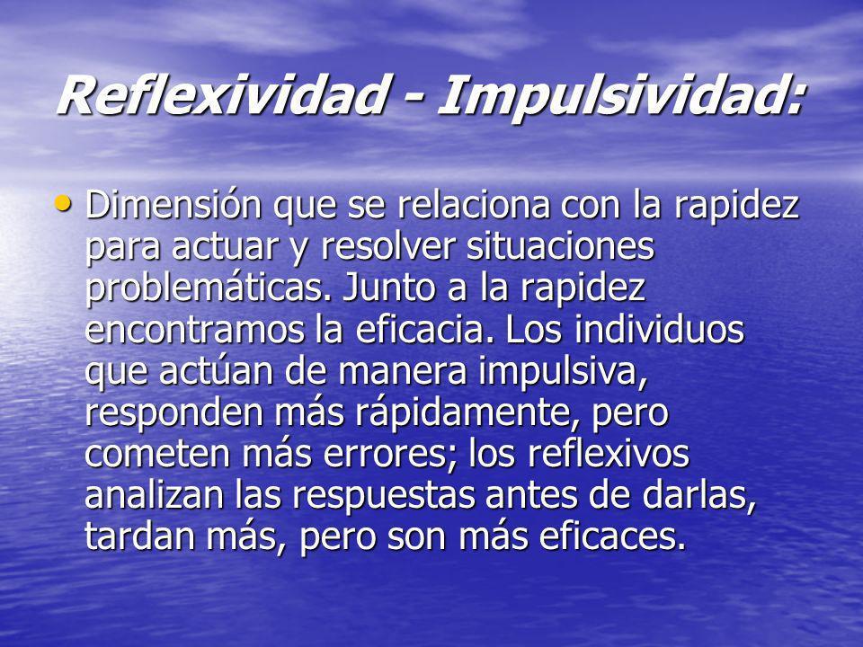 Reflexividad - Impulsividad: