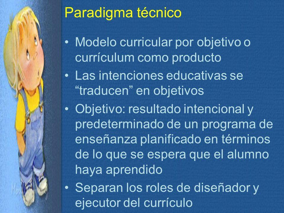 Paradigma técnico Modelo curricular por objetivo o currículum como producto. Las intenciones educativas se traducen en objetivos.