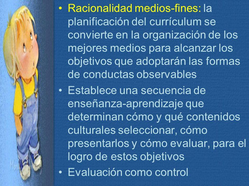 Racionalidad medios-fines: la planificación del currículum se convierte en la organización de los mejores medios para alcanzar los objetivos que adoptarán las formas de conductas observables