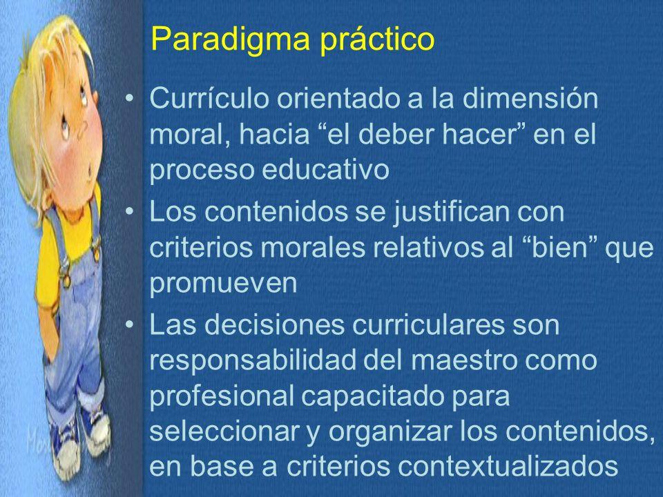 Paradigma práctico Currículo orientado a la dimensión moral, hacia el deber hacer en el proceso educativo.