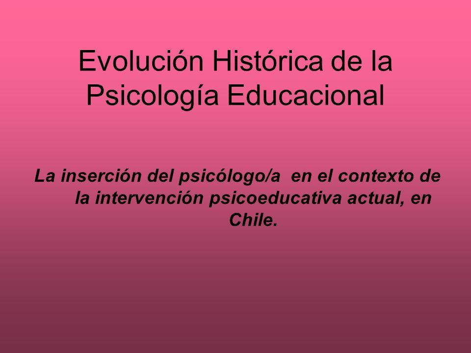 Evolución Histórica de la Psicología Educacional