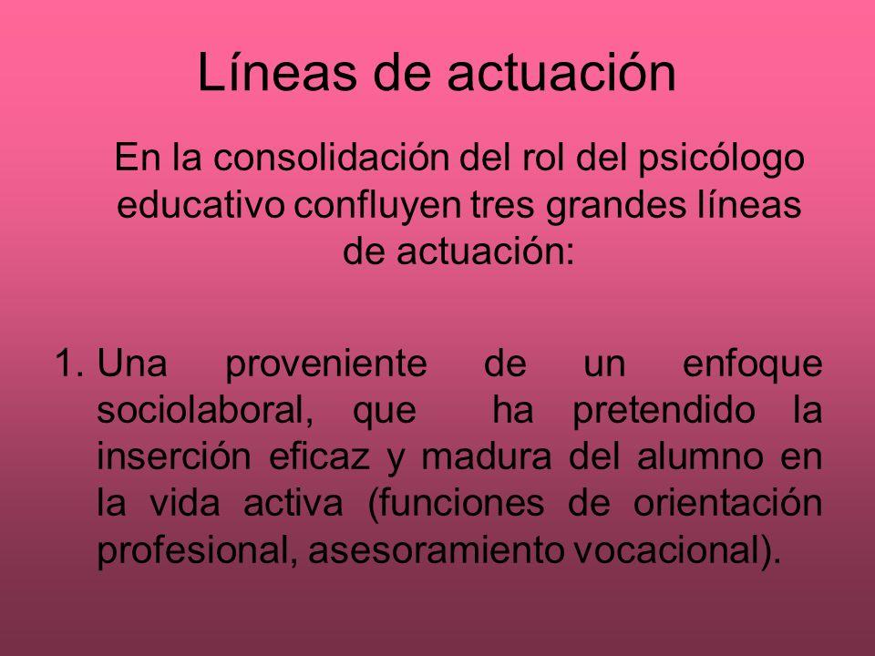 Líneas de actuación En la consolidación del rol del psicólogo educativo confluyen tres grandes líneas de actuación: