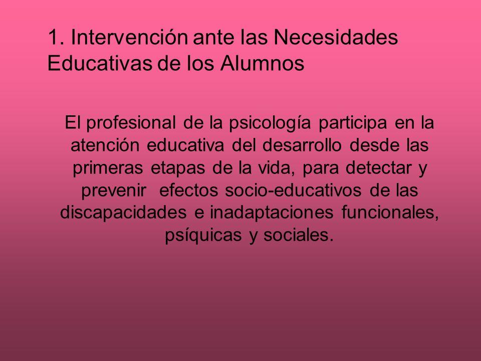 1. Intervención ante las Necesidades Educativas de los Alumnos