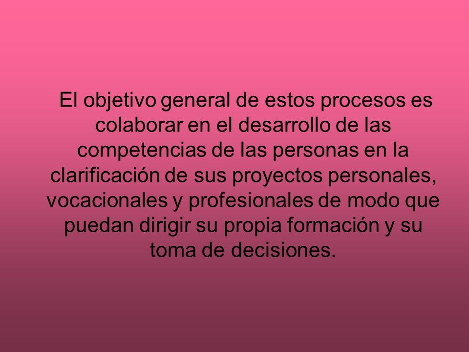 El objetivo general de estos procesos es colaborar en el desarrollo de las competencias de las personas en la clarificación de sus proyectos personales, vocacionales y profesionales de modo que puedan dirigir su propia formación y su toma de decisiones.