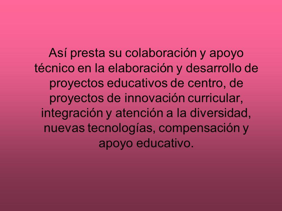 Así presta su colaboración y apoyo técnico en la elaboración y desarrollo de proyectos educativos de centro, de proyectos de innovación curricular, integración y atención a la diversidad, nuevas tecnologías, compensación y apoyo educativo.