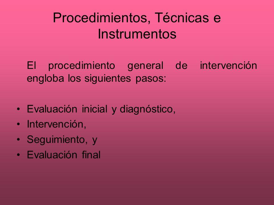 Procedimientos, Técnicas e Instrumentos