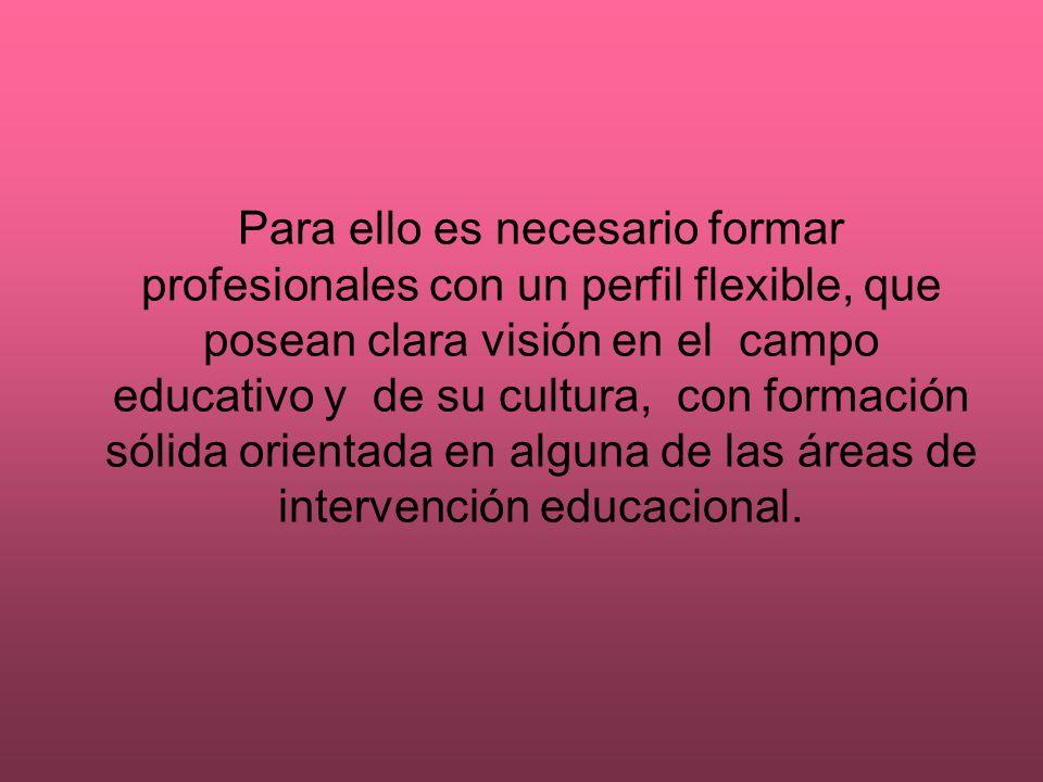 Para ello es necesario formar profesionales con un perfil flexible, que posean clara visión en el campo educativo y de su cultura, con formación sólida orientada en alguna de las áreas de intervención educacional.